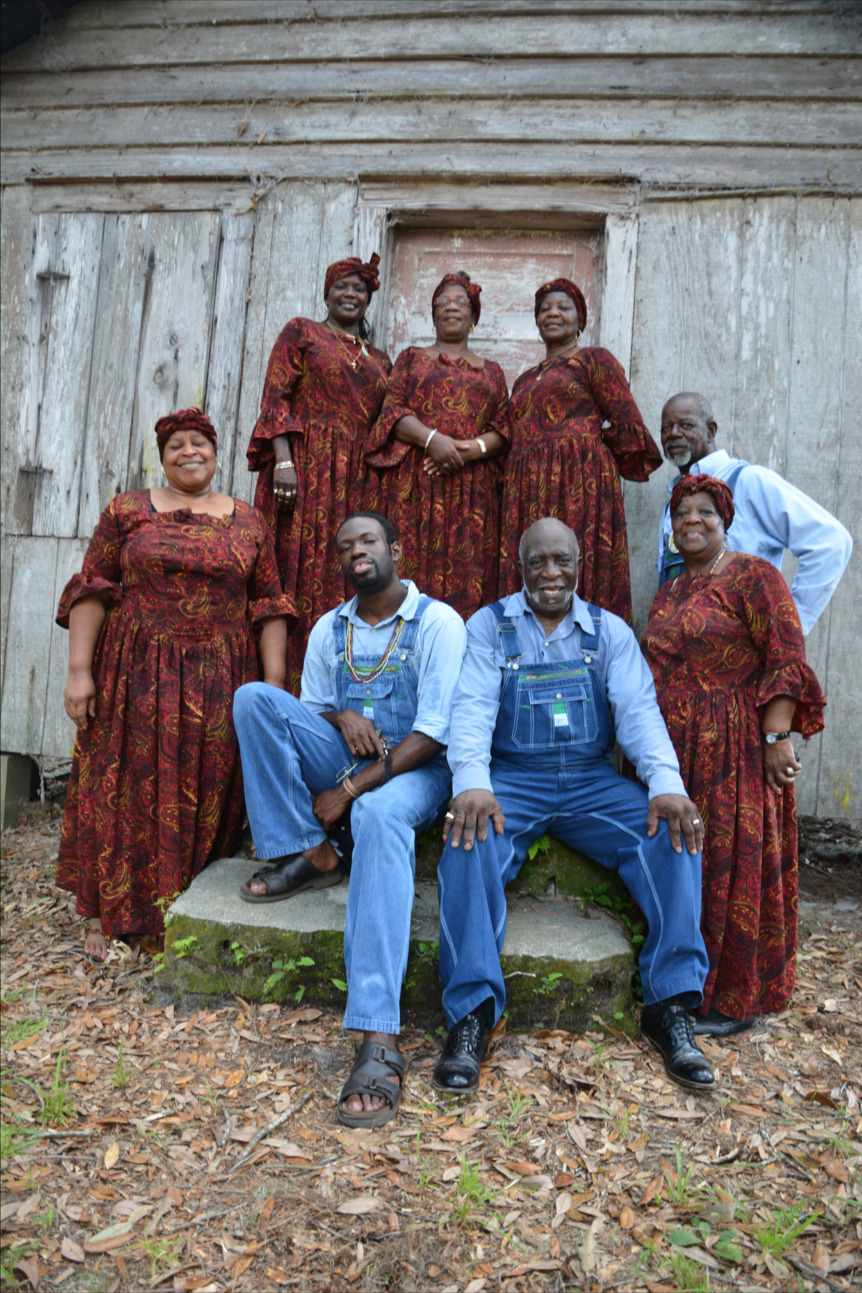 McIntosh County Shouters in front of famiy Praise House.
